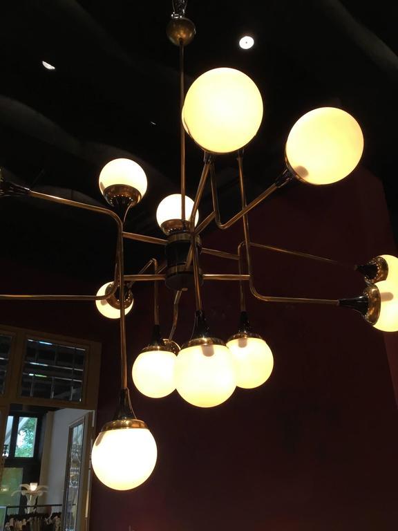Mid-20th Century Stilnovo Ceiling Lamp, Italy, 1950s For Sale