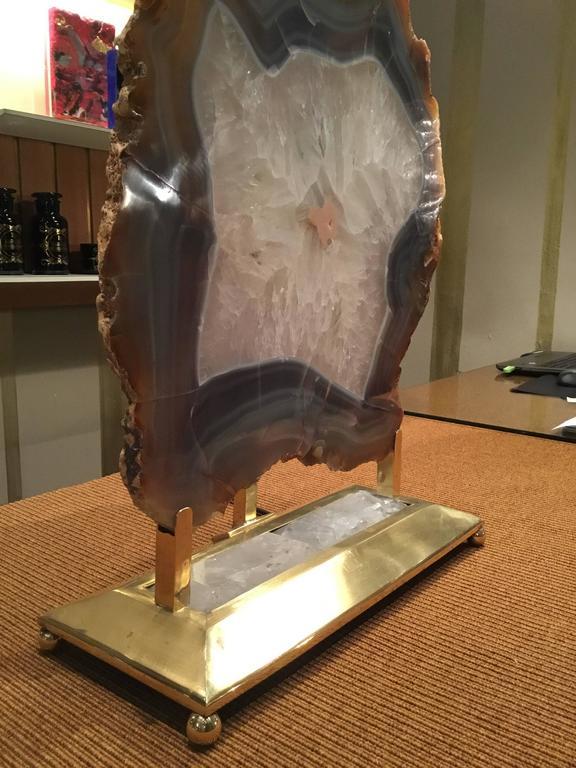 Contemporary Italian Retro Illuminated Fossil Table Lamp For Sale