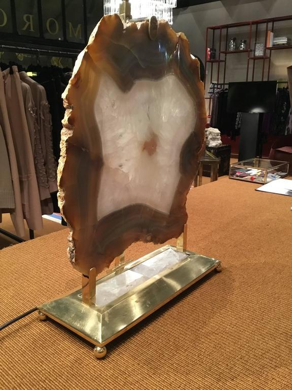 Italian Retro Illuminated Fossil Table Lamp For Sale 2