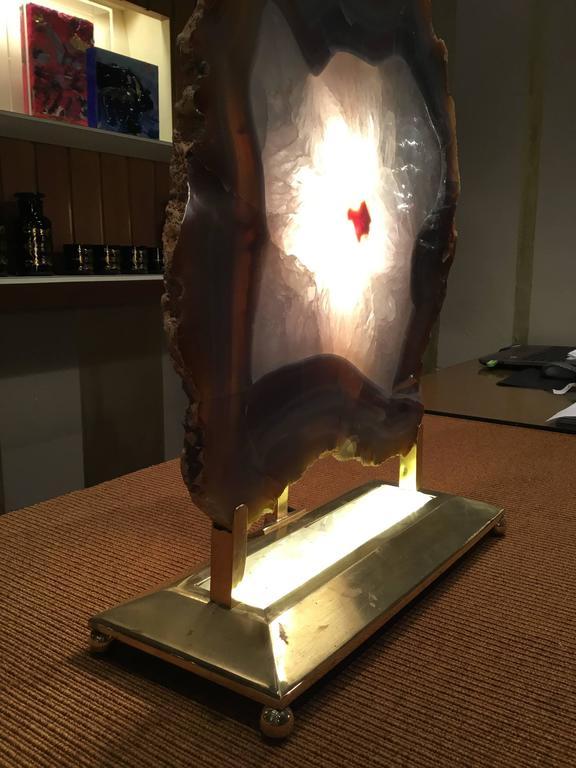 Italian Retro Illuminated Fossil Table Lamp For Sale 1