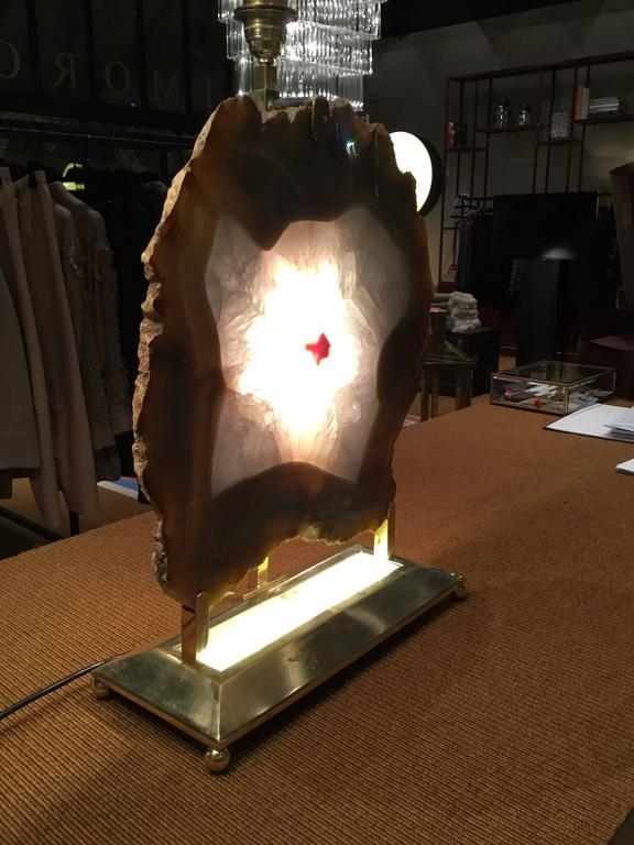 Italian Retro Illuminated Fossil Table Lamp For Sale 3
