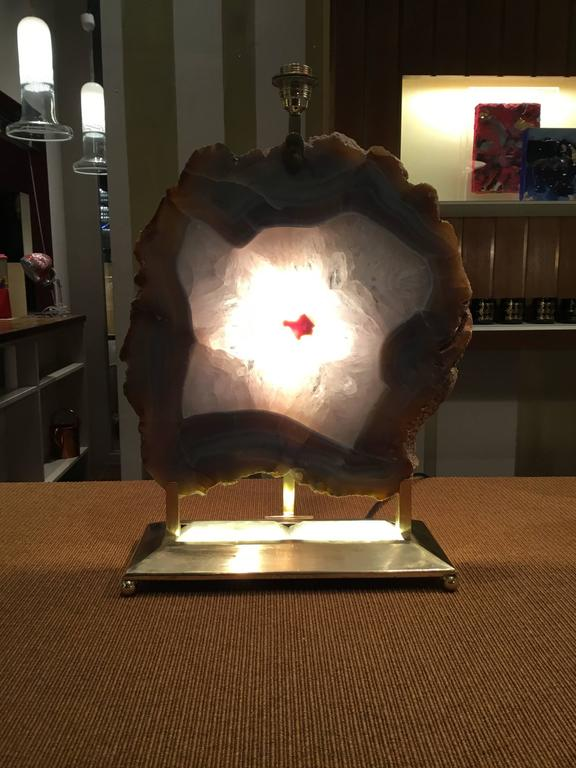 Italian Retro Illuminated Fossil Table Lamp For Sale 4