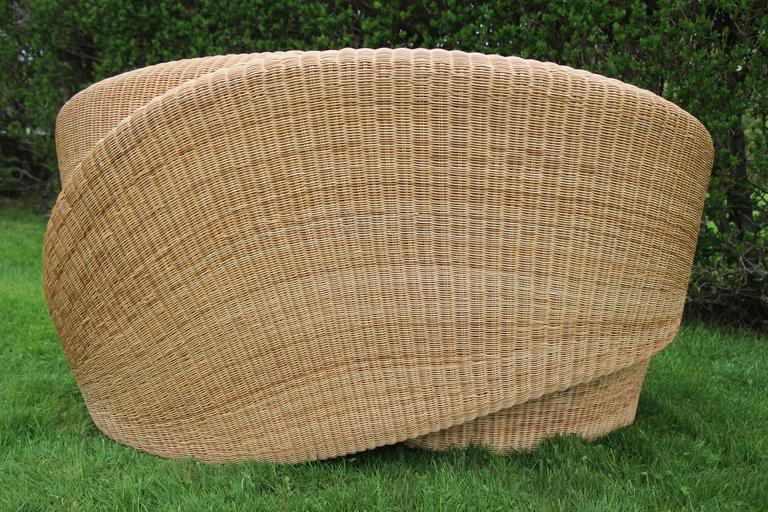 Minimalist Contemporary Rattan Indoor-Outdoor Loveseat, Cushions in Sunbrella Fabric For Sale