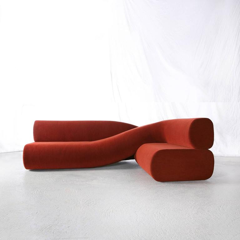 Minimalist Contemporary Sofa Twist in Upholstered Fabric For Sale