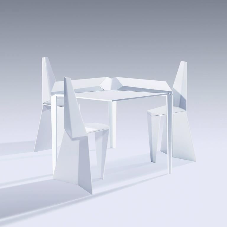 Crystallized Three-Legged Aluminium Dining Table with Removable Serving Trays 3