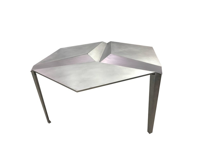 Faceted Crystallized Three-Legged Recycled Metal Dining Table, Removable Serving Trays For Sale