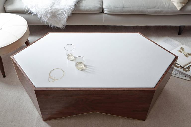 Shard Cocktail Table in Walnut, White Concrete and Brass 4