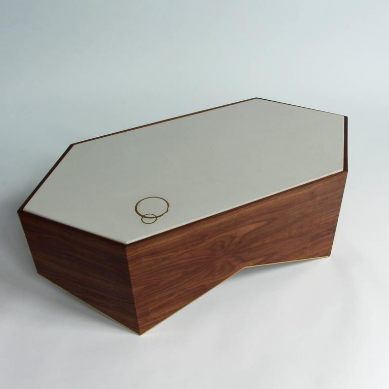 Shard Cocktail Table in Walnut, White Concrete and Brass 7