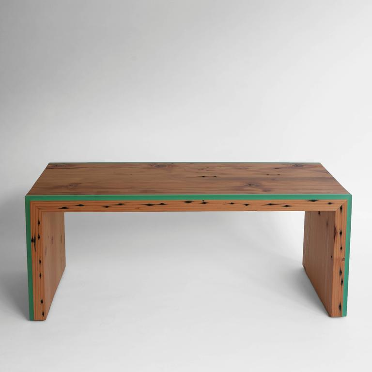 Inlay Custom Monster Island Coffee Table or Bench in Reclaimed Fir, Edged in Resin For Sale