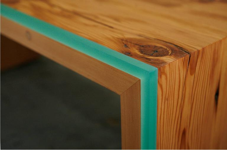American Custom Monster Island Coffee Table or Bench in Reclaimed Fir, Edged in Resin For Sale