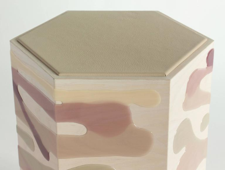 American Drip / Fold Side Table in Ash, Resin and Leather - In Stock For Sale