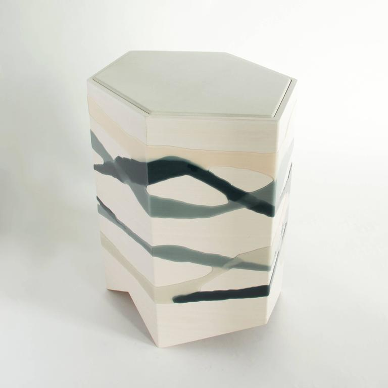 American Drip / Fold Side Table in Ash, Resin and Leather For Sale