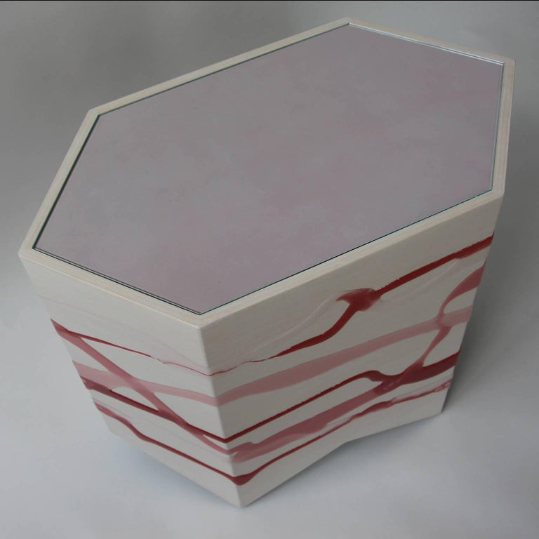 Organic Modern Custom Drip or Fold Side Table, Ash Plywood with Rose-Wine Resin and Glass Top For Sale