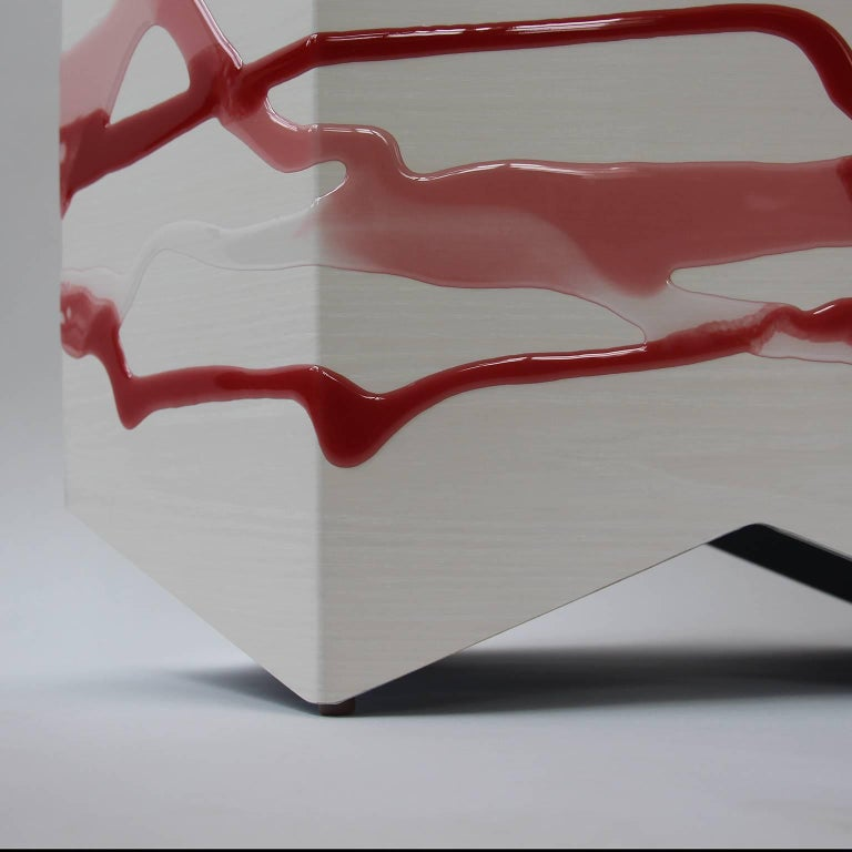 American Drip or Fold Side Table, Ash Plywood with Rose-Wine Resin and Glass Top, Custom For Sale
