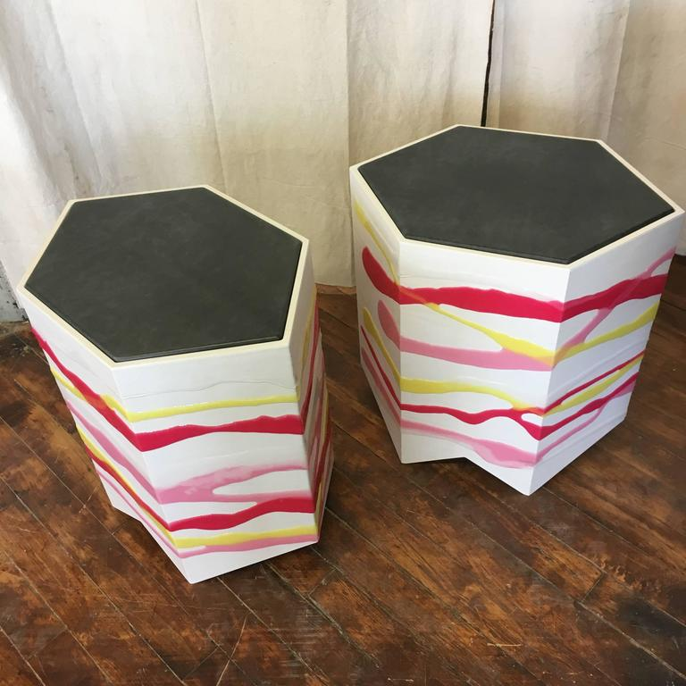 Organic Modern Pair of Custom Drip/Fold Side Tables in Ash, Resin and Leather For Sale