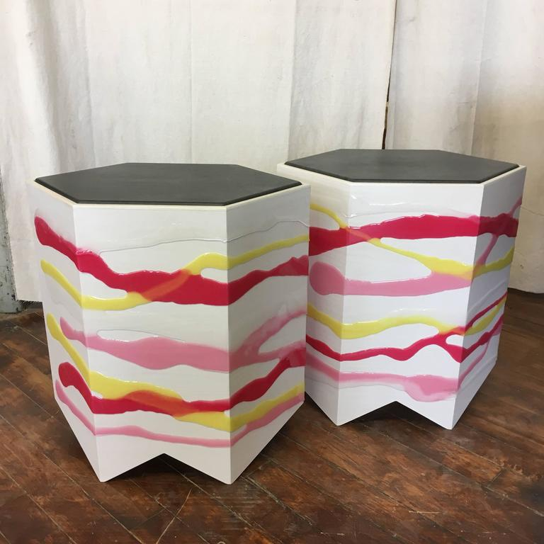 American Pair of Custom Drip/Fold Side Tables in Ash, Resin and Leather For Sale