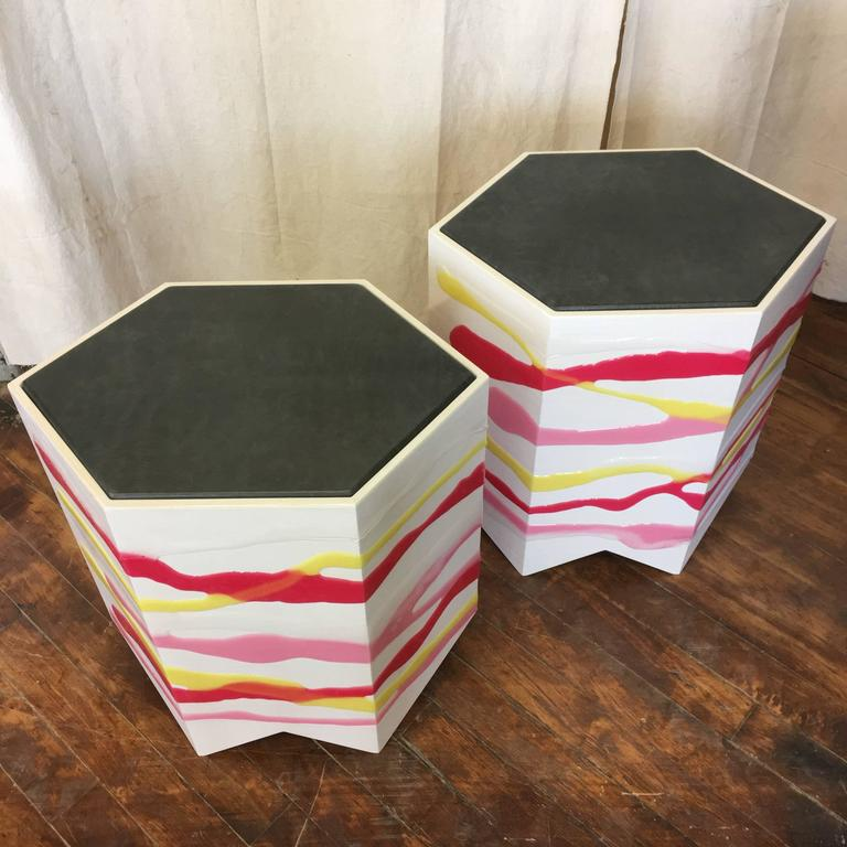 Contemporary Pair of Custom Drip/Fold Side Tables in Ash, Resin and Leather For Sale