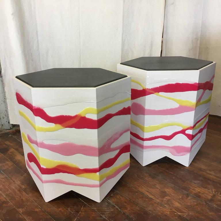 Epoxy Resin Pair of Custom Drip/Fold Side Tables in Ash, Resin and Leather For Sale