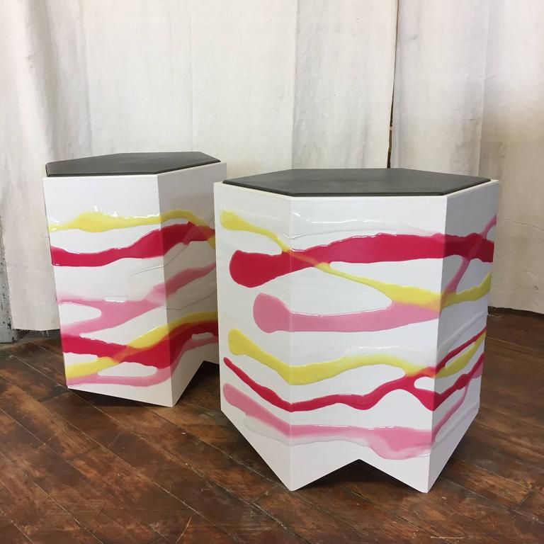 Pair of Custom Drip/Fold Side Tables in Ash, Resin and Leather For Sale 1