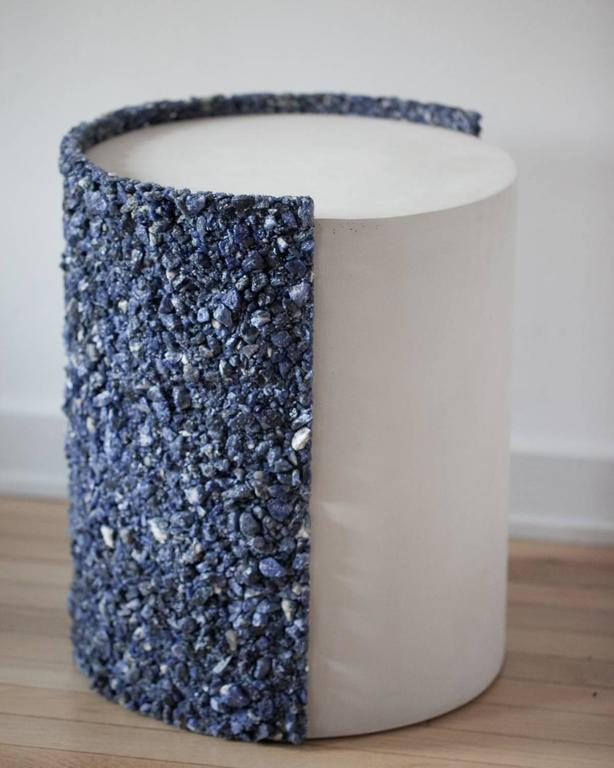 Hand Made Blue Sodalite and White Plaster Drum, Side Table by Samuel Amoia In New Condition For Sale In New York, NY