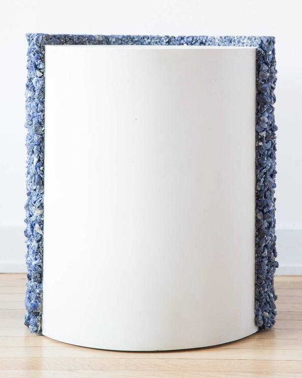 Contemporary Hand Made Blue Sodalite and White Plaster Drum, Side Table by Samuel Amoia For Sale