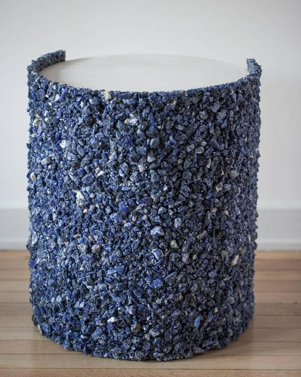 Hand Made Blue Sodalite and White Plaster Drum, Side Table by Samuel Amoia For Sale 1