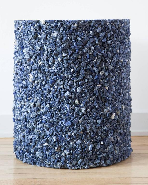 Hand Made Blue Sodalite and White Plaster Drum, Side Table by Samuel Amoia For Sale 2