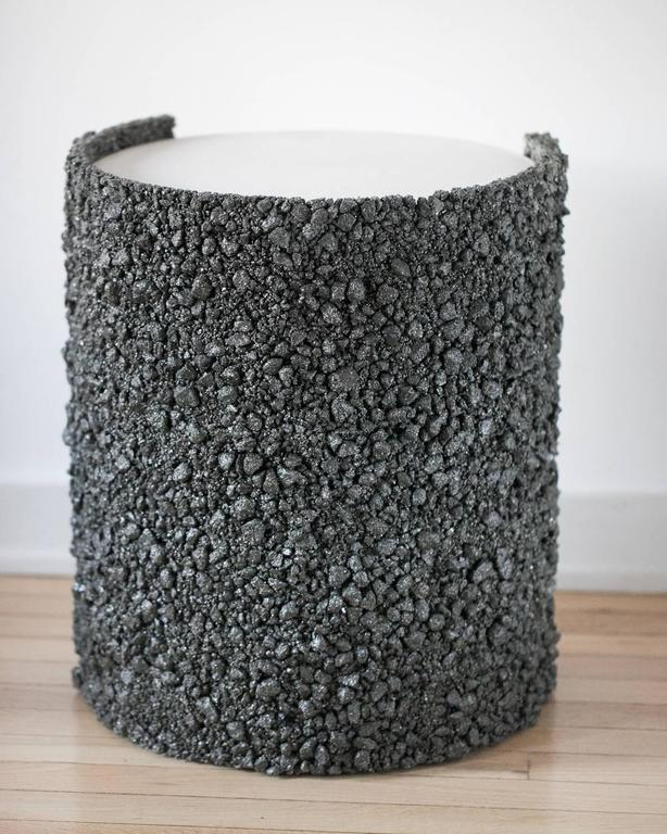 Hand Made Pyrite of Mexico and White Plaster Drum, Side Table by Samuel Amoia In New Condition For Sale In New York, NY