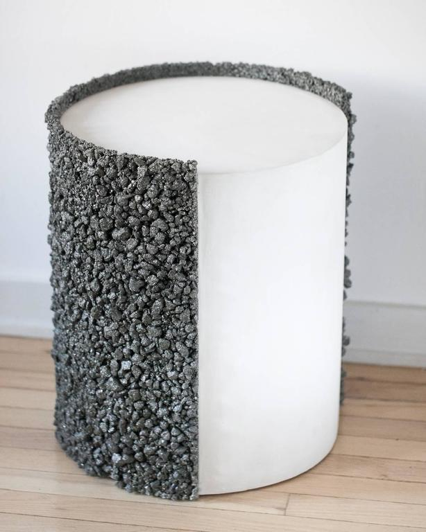 Hand Made Pyrite of Mexico and White Plaster Drum, Side Table by Samuel Amoia For Sale 2