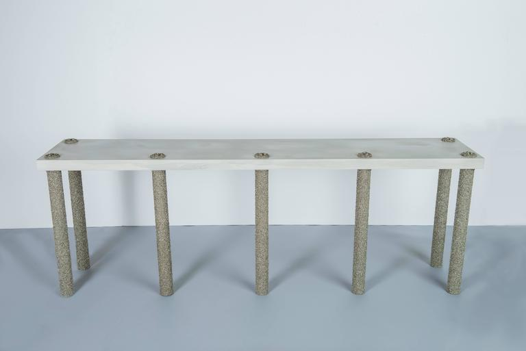 American Hand Made Console of Crushed Pyrite from Mexico and Grey Cement, by Samuel Amoia For Sale