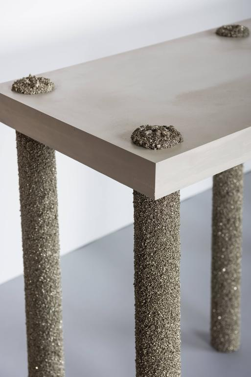 Hand Made Console of Crushed Pyrite from Mexico and Grey Cement, by Samuel Amoia In New Condition For Sale In New York, NY