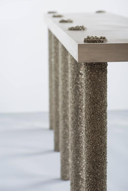 Contemporary Hand Made Console of Crushed Pyrite from Mexico and Grey Cement, by Samuel Amoia For Sale