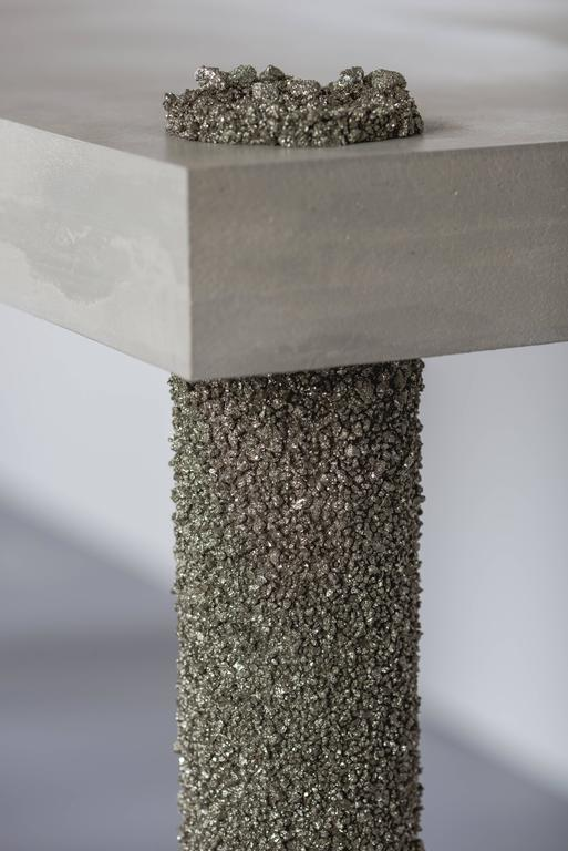Hand Made Console of Crushed Pyrite from Mexico and Grey Cement, by Samuel Amoia For Sale 1