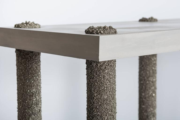 Hand Made Console of Crushed Pyrite from Mexico and Grey Cement, by Samuel Amoia For Sale 2