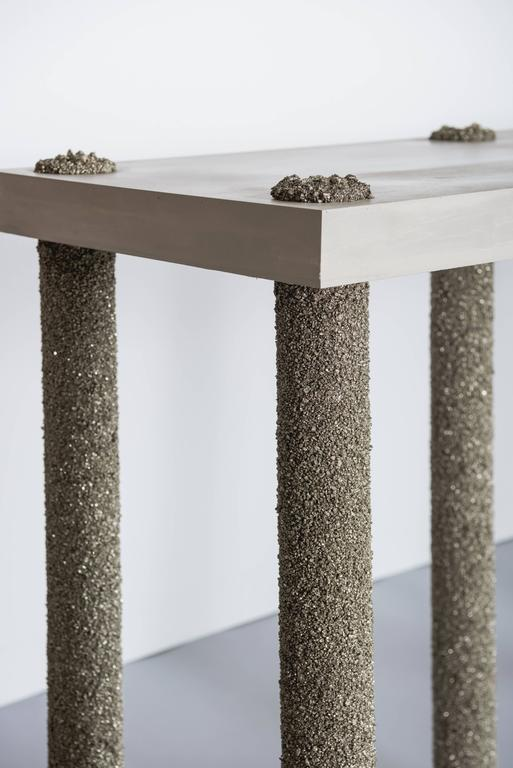 Hand Made Console of Crushed Pyrite from Mexico and Grey Cement, by Samuel Amoia For Sale 3