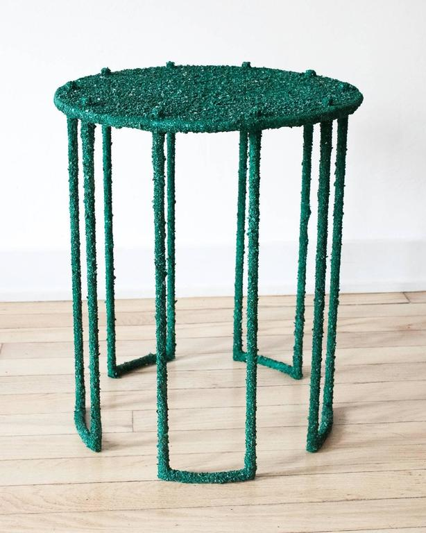 American Hand Made Side Table of Crushed Malachite of the Congo, by Samuel Amoia For Sale