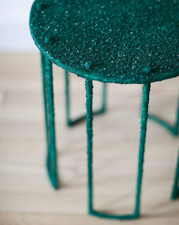 Hand Made Side Table of Crushed Malachite of the Congo, by Samuel Amoia In New Condition For Sale In New York, NY