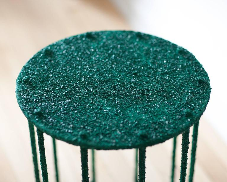 Contemporary Hand Made Side Table of Crushed Malachite of the Congo, by Samuel Amoia For Sale