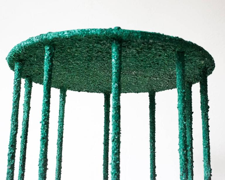 Pyrite Hand Made Side Table of Crushed Malachite of the Congo, by Samuel Amoia For Sale