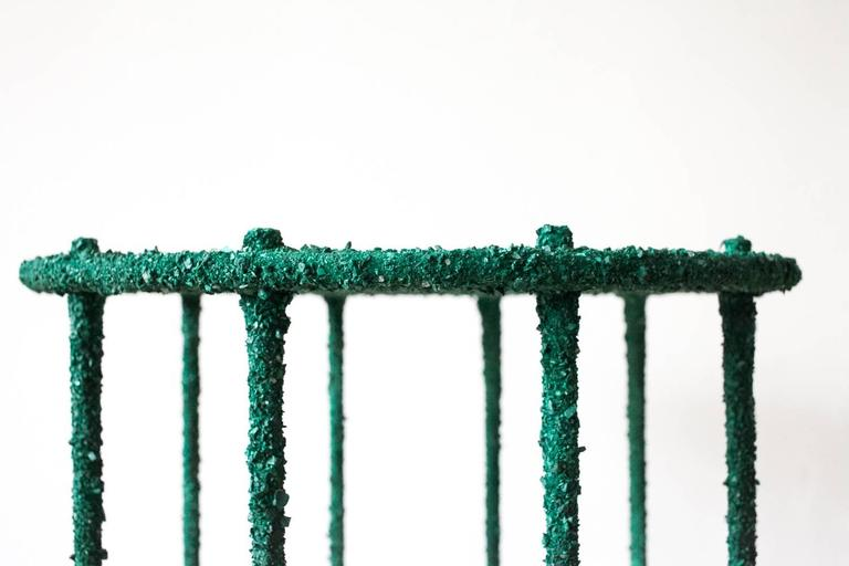 Hand Made Side Table of Crushed Malachite of the Congo, by Samuel Amoia For Sale 1