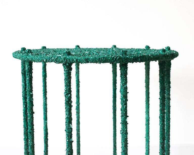 Hand Made Side Table of Crushed Malachite of the Congo, by Samuel Amoia For Sale 2