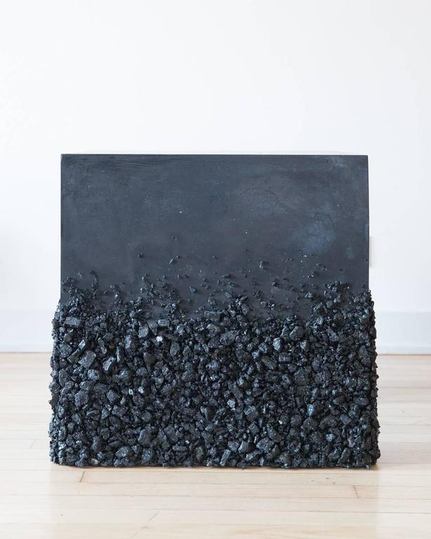 American Hand Made Side Table of Black Tourmaline and Black Plaster, by Samuel Amoia For Sale