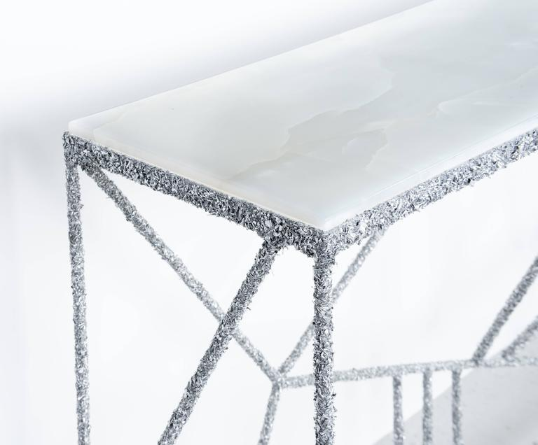 American Hand Made Console of Aluminum Shavings and Honed White Italian Onyx Top For Sale