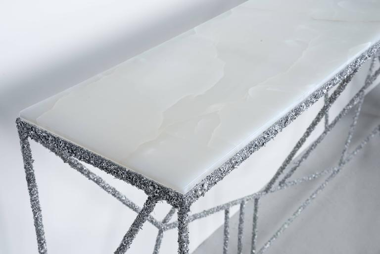 Contemporary Hand Made Console of Aluminum Shavings and Honed White Italian Onyx Top For Sale