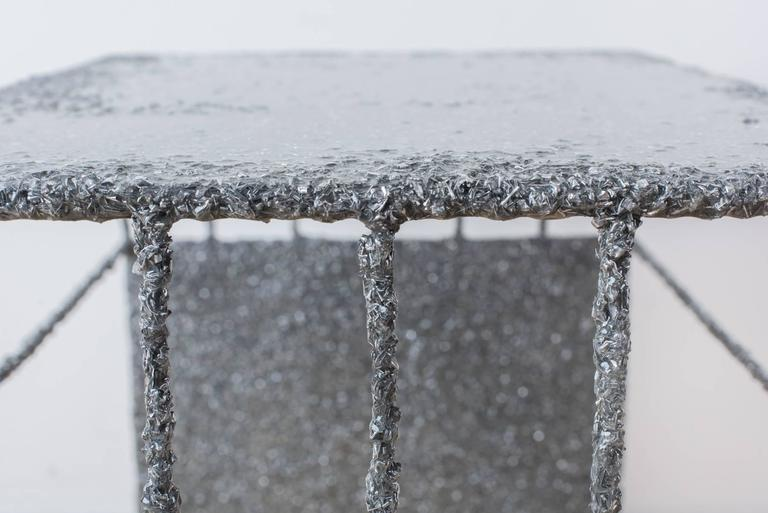 Hand Made Resin and Aluminum Shavings Side Table by Samuel Amoia In New Condition For Sale In New York, NY