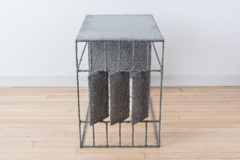 Hand Made Resin and Aluminum Shavings Side Table by Samuel Amoia For Sale 1