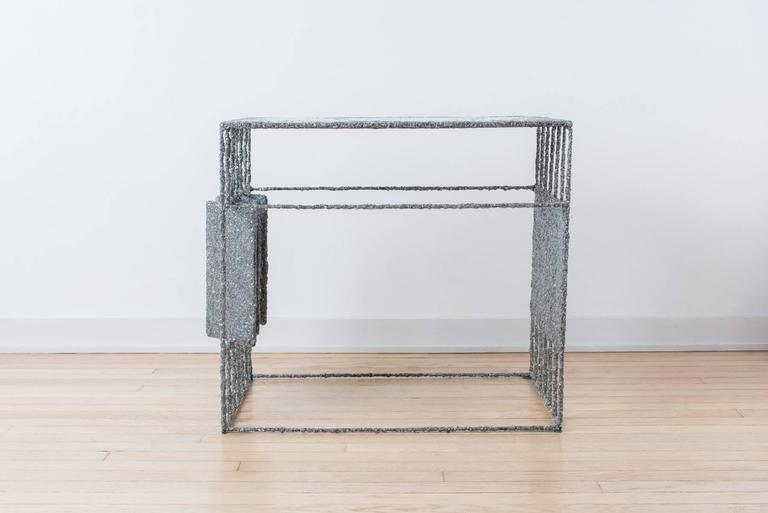 Hand Made Resin and Aluminum Shavings Side Table by Samuel Amoia For Sale 2