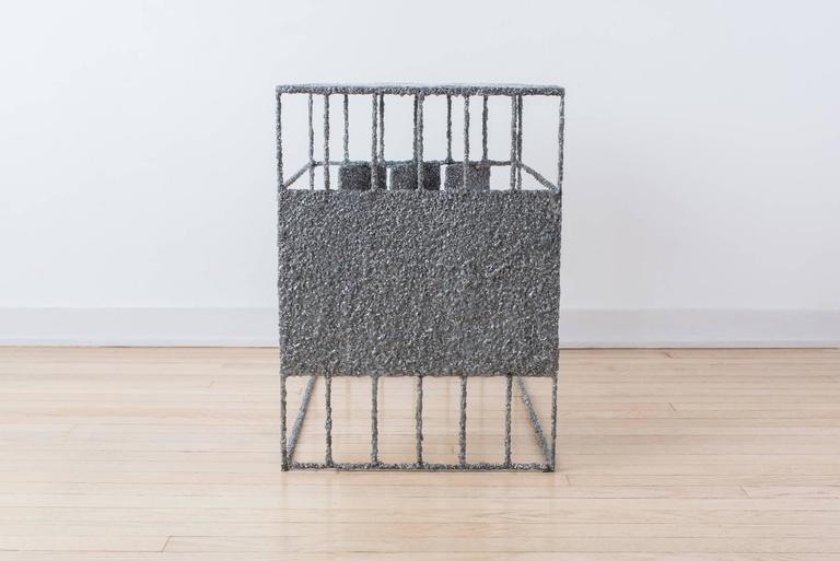 Hand Made Resin and Aluminum Shavings Side Table by Samuel Amoia For Sale 3