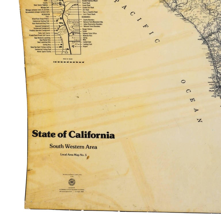 Aaa California Map.Map Of California South Western Area By Aaa Automotive Club For Sale