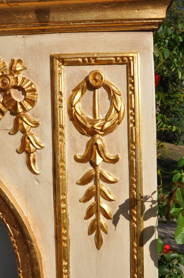 Gilt 19th Century Mirror in Wood and Pastel, Lacquered, Gold-Plated For Sale